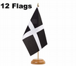 Cornwall St Piran''s Day Cornish Kernow Table Flags - Pack of 12 (Flags only)